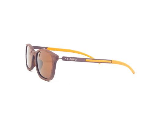aquilon lunettes bois de rose verres bruns coté branches oranges