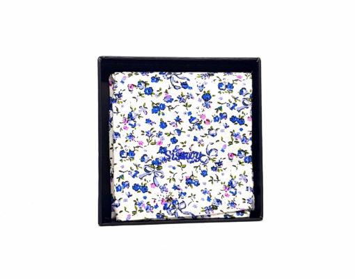 pochette de costume en coton - blanche avec fleurs bleues et roses