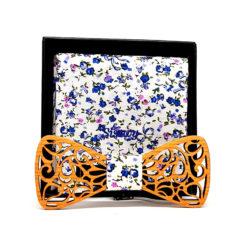 hengill noeud papillon ouvert bois cerisier fleurs bleues et roses avec pochette de costume en coton