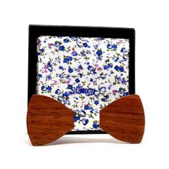 ijen noeud papillon bois noyer fleurs bleues et roses avec pochette de costume en coton
