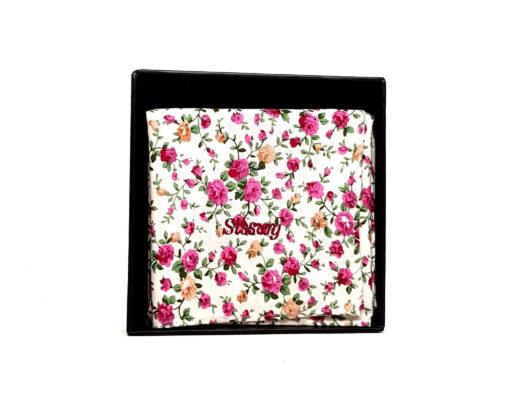 pochette de costume en coton - fleurs roses et jaunes